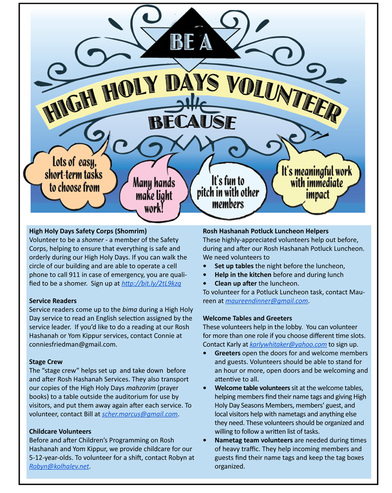 Volunteer for the High Holy Days