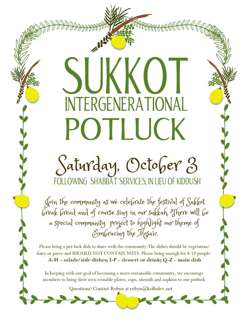 Come to our Sukkot Potluck!